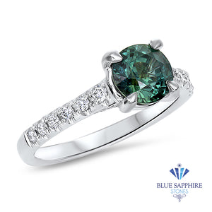 1.57ct Round Green Sapphire Ring with Diamond Accents in 18K White Gold