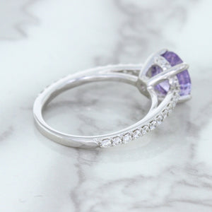 2.14ct EGL Certified Round Unheated Lavender Sapphire Ring with Diamonds in 18K White Gold