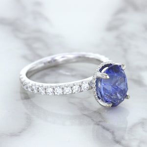 3.30ct Oval Blue Sapphire Ring with Hidden Diamond Halo in 18K White Gold