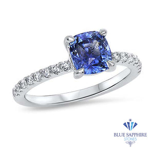 1.85ct. EGL Certified Cushion Unheated Blue Sapphire Ring with Diamond Accents in 18K White Gold