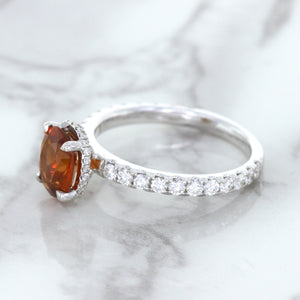 1.62ct Oval GIA Certified Unheated Orange Sapphire Ring with Diamond Accents in 18K White Gold
