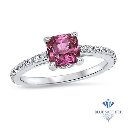 1.27ct Asscher Unheated Pink Sapphire Ring with Diamond Accents in 18K White Gold