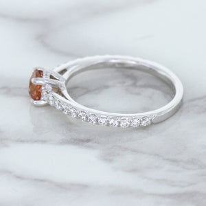0.55ct Cushion Unheated EGL Certified Padparadscha Ring with Diamond Accents in 18K White Gold