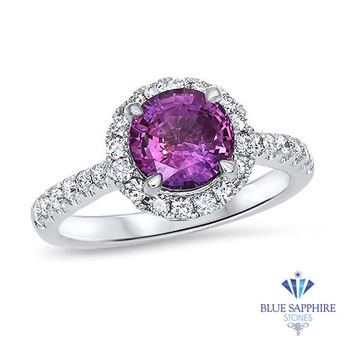 2.04ct Round EGL Certified Purple Sapphire Ring with Diamond Halo in 18K White Gold