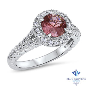 1.07ct Round Padparadscha Ring with Diamond Halo in 18K White Gold