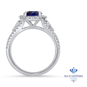 1.30ct Round Blue Sapphire Ring with Diamond Halo in 18K White Gold