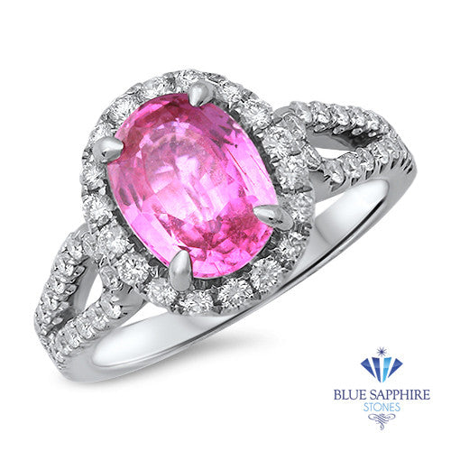 2.72ct Oval Pink Sapphire Ring with Diamond Halo in 18K White Gold