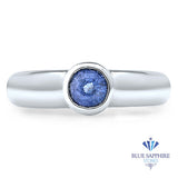 0.74ct Round Blue Sapphire Ring in 14K White Gold