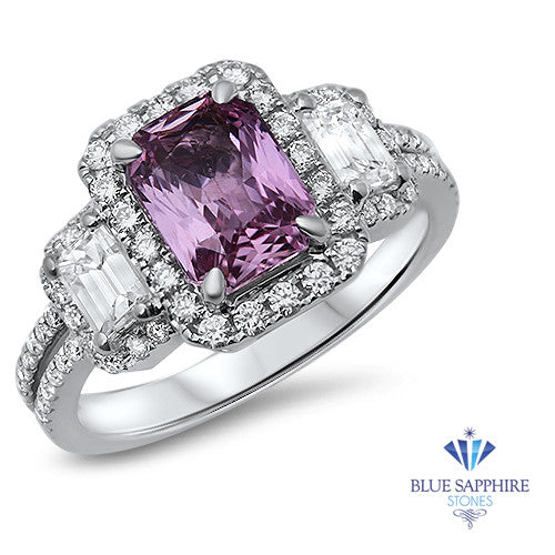 1.98ct Radiant Pink Sapphire Ring with Diamond Halo in 18K White Gold