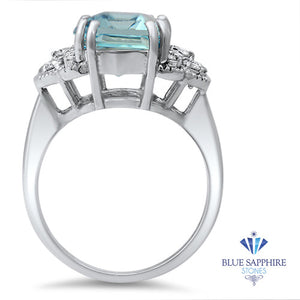 6.47ct Emerald Aquamarine Ring with Diamond Accents in 18K White Gold