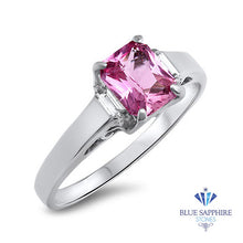 1.76ct Emerald Pink Sapphire Ring with Diamond Accents in 18K White Gold