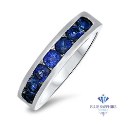 1.22ctw Round Blue Sapphire Ring in 18K White Gold