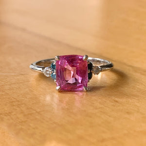 Custom Made 1.72ct Cushion Pink Sapphire with Diamond Accents