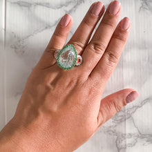 20.07ct Pear Green Sapphire Ring with Tsavorite Halo and Padparadschas with Diamond Halo in 18K White Gold