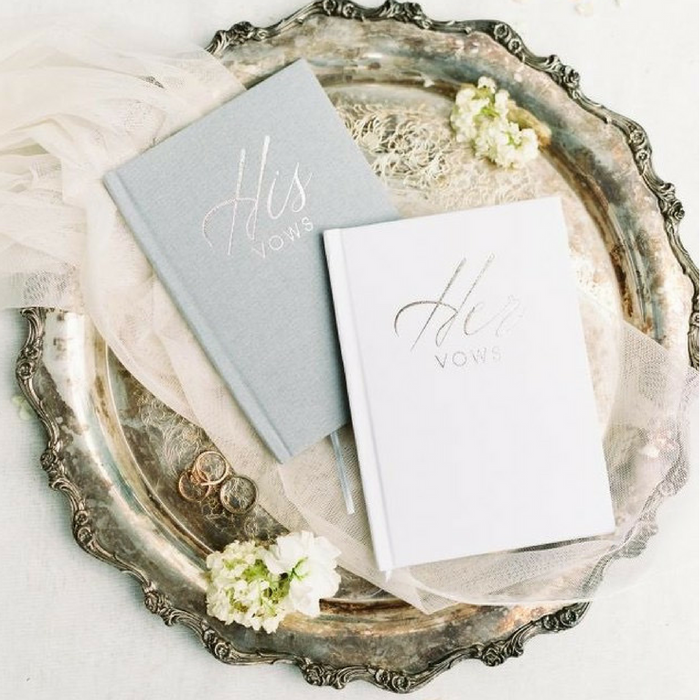 His & Her Linen Vow Bookset