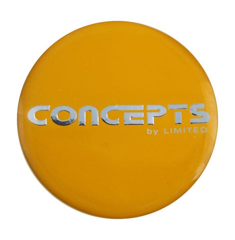 "Concepts By Limited Wheels Center Cap Emblem Sticker Logo Yellow 2 11/16"" New - Pilgreen Wheels & Tires"