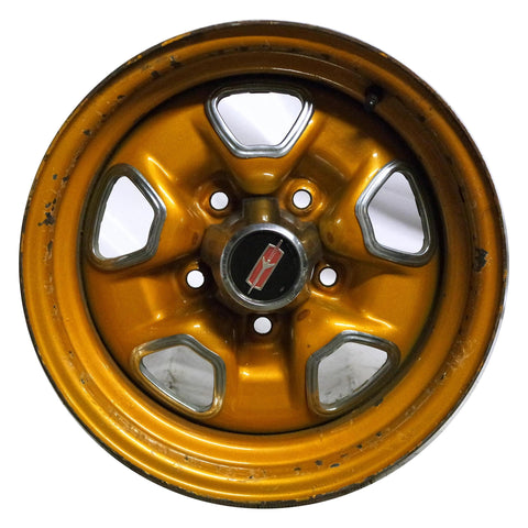 Set(4) 14x7 Oldsmobile Cutlass Hurst SSII Rally Steel Wheels 5x120.7 70-72 Used - Pilgreen Wheels & Tires
