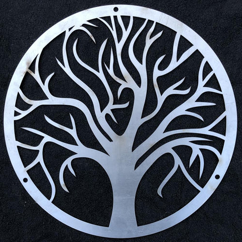 Circular Tree of Life Wall Art Panel (3mm Mild, Powder Coated or Stainless Steel)