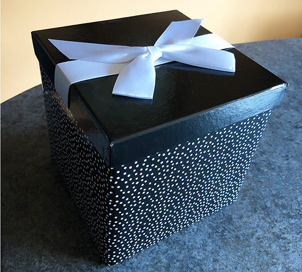 Black and White Gift Box with white bow and tag