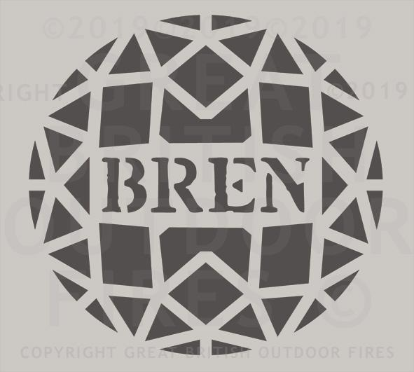 """This design is a circular geometric pattern with a horizontal band across the centre with the name Bren."""
