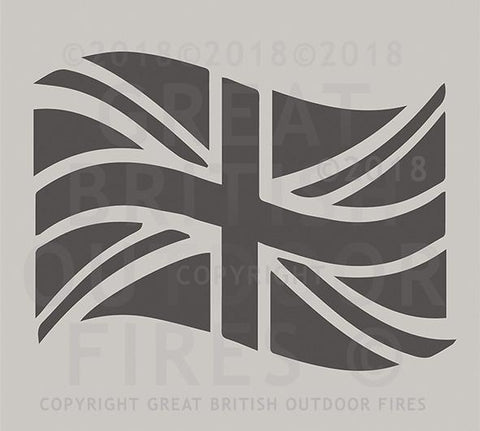 """This design depicts a British flag or Union Flag which is billowing in the wind. Some call it a Union Jack."""
