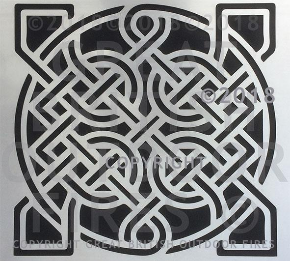 """This mainly circular design is a celtic sailor's knot, with continuations into the 4 corners, giving it a squared feel."""