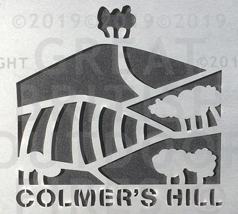 """This design is an artistic impression of Colmer's Hill with its distinctive pattern of trees and meadows."""