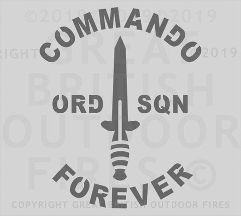 """A Fairbairn-Sykes Fighting Knife pointing upwards with words Commando Forever top and bottom and ORD & SQN left and right."