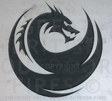 """This design features a side on profile of a fierce looking dragon with sharp sweeping swirls within circular design."""