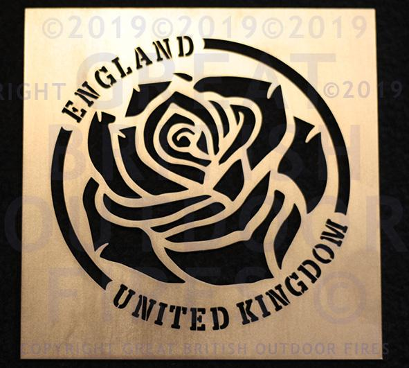 English Rose (without Stem) in Circular Border with England & United Kingdom