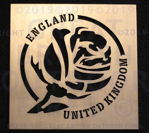 English Rose (with Stem) in Circular Border with England & United Kingdom