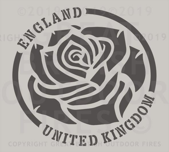 """An English rose set in a circular border with the words England & United Kingdom on the circumference."