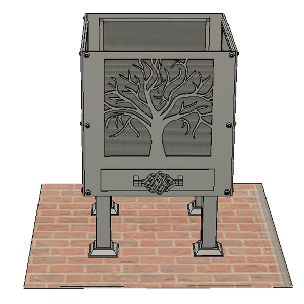 'Tree of Life Square and Celtic Knot' Fire Pit | Size: Courtyard (400mm)