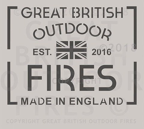 """This design is the Great British Outdoor Fires company logo, featuring a union flag and Made in England, EST. 2016."""