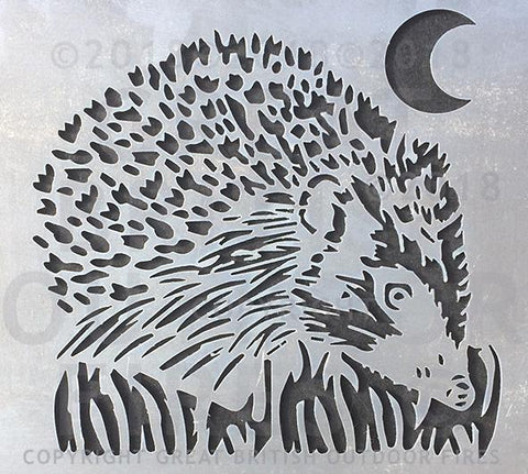 """This design is a hedgehog viewed 45 degrees from head on amongst blades of grass with a cresecnt moon in the top corner."""