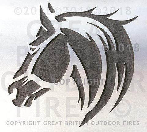 """This design features a side on profile of a horse's head with the upper part of the neck with a sweeping mane."""