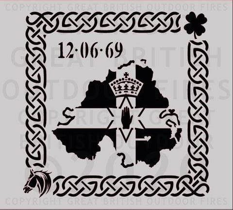 Northern Ireland Silhouette with Celtic Border and Motifs (Personalised)