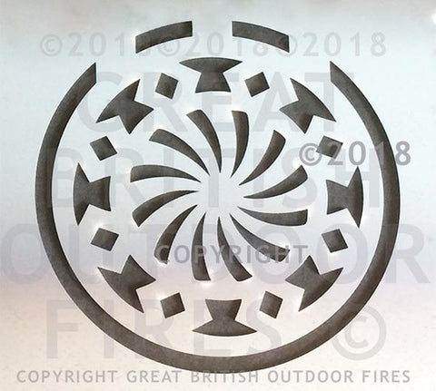 """An Islamic art inspired design featuring a series of shapes in a circular pattern, the centre resembling a turbofan engine."""