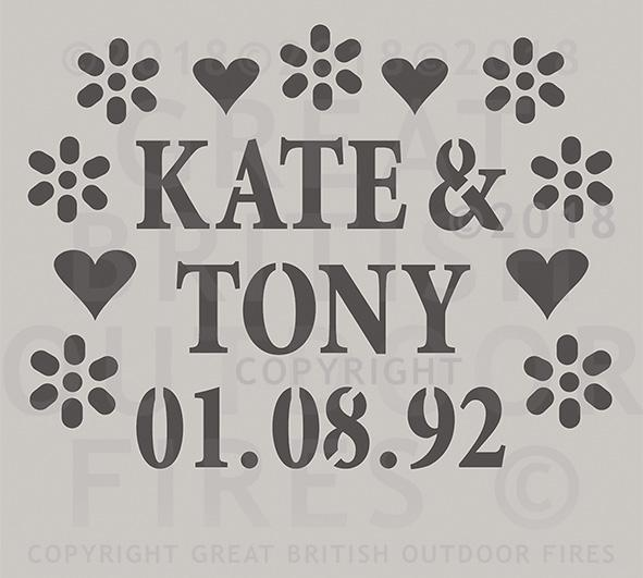 """This design is the names Kate & Tony and the date 01 08 92 encircled by a series of heart and daisy shaped cuts outs. """