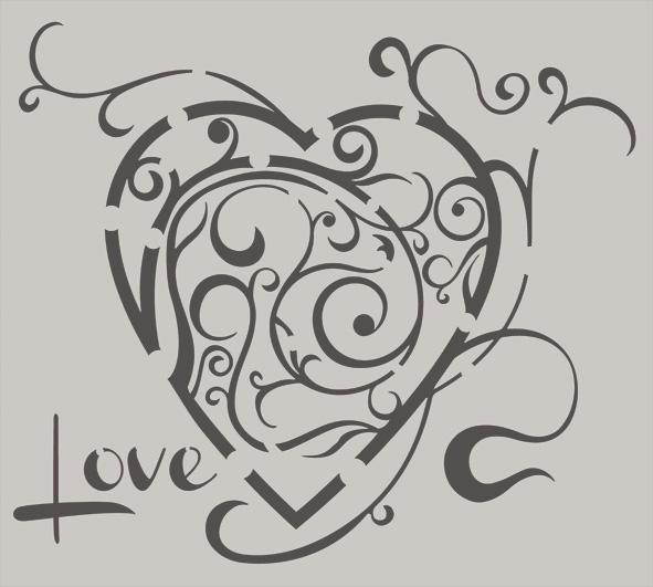 """This design is a delicate, swirly, stylised love heart, with the word Love bottom left."""