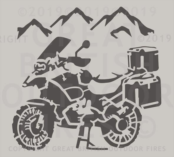 """This design is a BMW R1200GS Touring bike in the foreground, with mountains in the background."""
