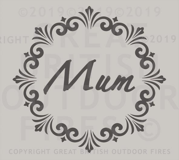 """This design is the word Mum placed in the centre of a round decorative border."""