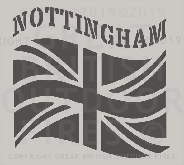 """This design depicts a British flag or Union Flag which is billowing in the wind, with the NOTTINGHAM above it."""