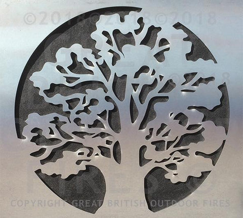 """This design is a profile of an oak tree within a circular frame."""