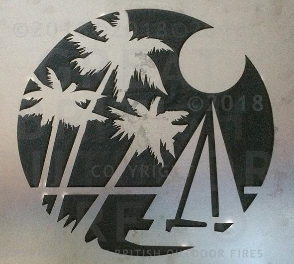 """Design features three palm trees in the foreground with a sailboat on a calm sea with a full moon."""