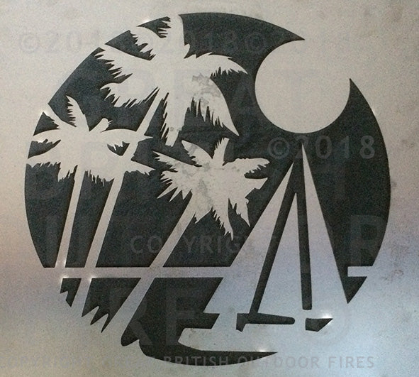 #sailboat, #sailing, #palmtree, #holiday, #anniversary present, #wedding, #present, #gift, #steel, #lasercut, #outdoor, #firepits, #panel, #garden #GreatBritishOutdoorFires, #madeinbritain, #handmade, #unique, #british-made, #britishmade