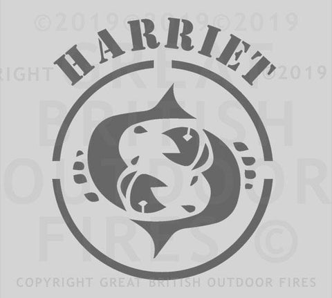 """This design features the pictorial Pisces zodiac sign within a circular border, with the name Harriet above it."""