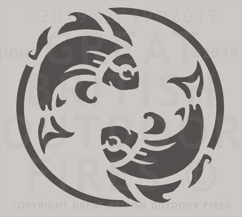 """This design features the pictorial Pisces zodiac sign within a circular border."""