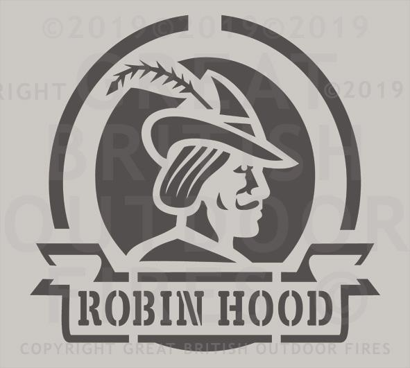 """This design is a head & shoulders silouette of Robin Hood with his name below it."""