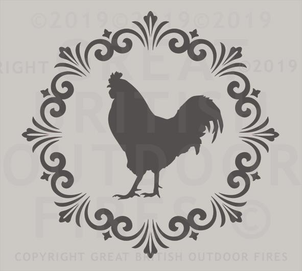 """This design is a rooster placed in the centre of a round decorative border."""